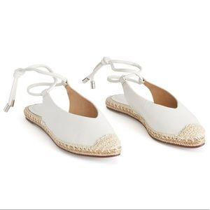 SCHUTZ   Ankle Tie Leather Flats - White